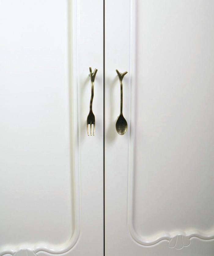 6PCS/Lot Vintage Bronze Knife/Spoon/Fork Kitchen Cupboard Cabinet ...