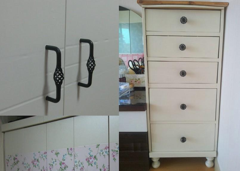 45mm Cabinet Knobs Kitchen Cabinet Cupboard Handles Closet Handles Drawer  Pulls Knobs Black Birdcage Series HBK