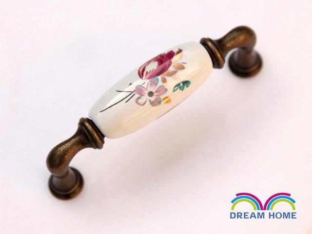 96mm Antiqure Bronze Ceramic Handle Cabinet Handles Drawer Pulls Door Knob  C:96mm L: