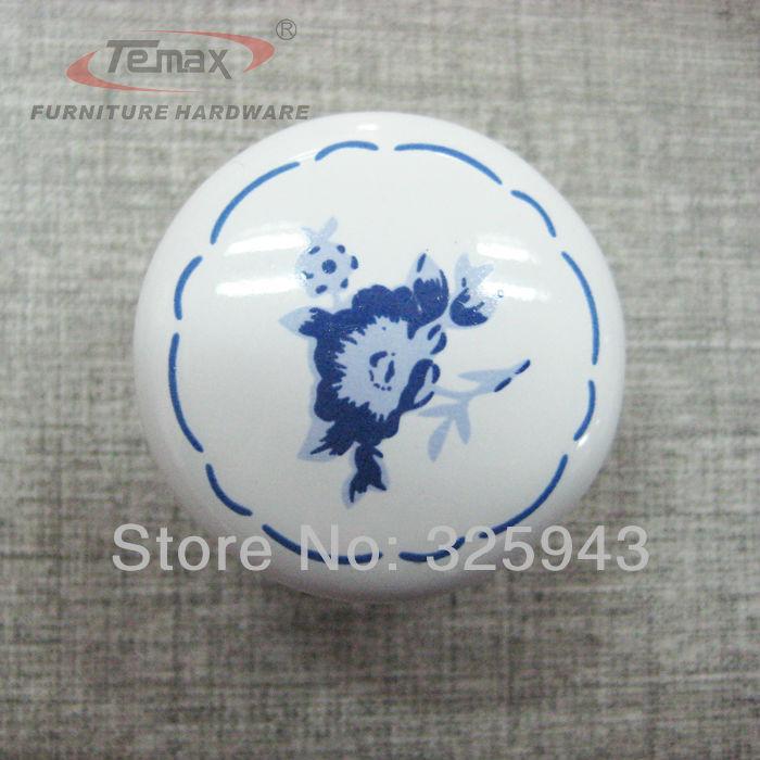 2pcs Ceramic Cabinet Knobs Handles Dresser Drawer Pulls Kitchen Furniture Bedroom Garden White Blue Flower