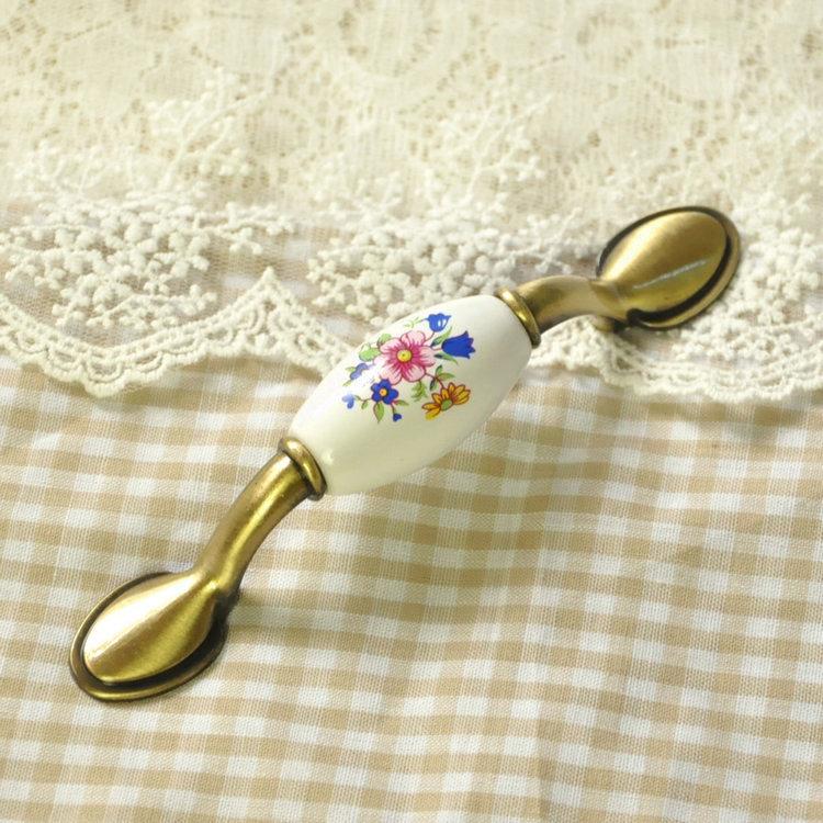 Sunflower Ceramic Cabinet Handles Cupboard Drawer Handles Pulls Bronze 76mm  Hole Spacing
