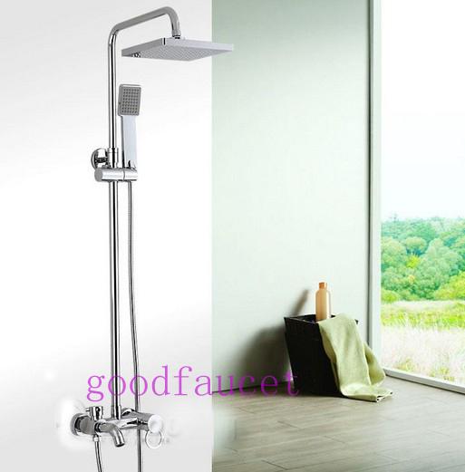 "Brass Bathroom Single Handle Mixer Tap Chrome Finished: Luxury Bathroom Rainfall Shower Mixer Tap Set 8"" Shower"