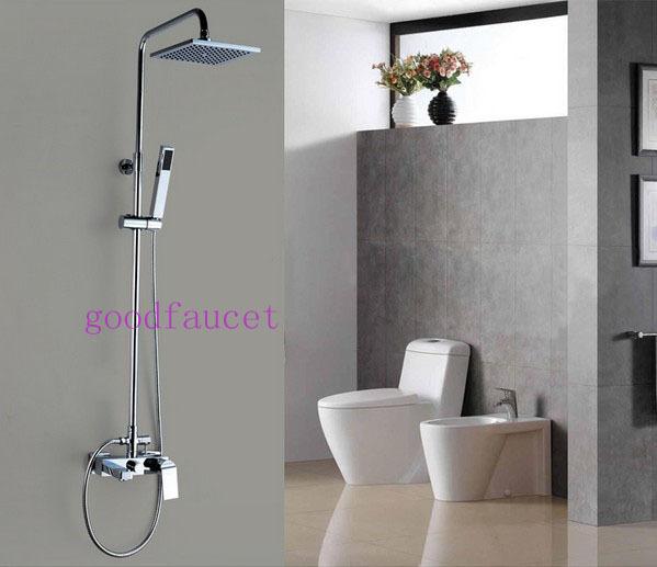 Modern Rain Shower Faucet Set 8 Square Head With Bath Tub Handheld