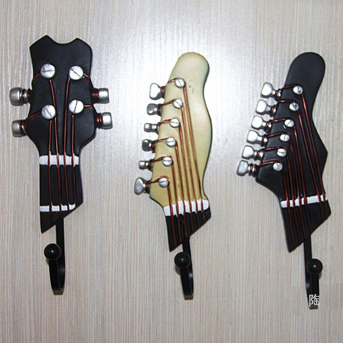 3pcs resin iron vintage coat hooks fashion door hanging clothes hook home decoration guitar. Black Bedroom Furniture Sets. Home Design Ideas