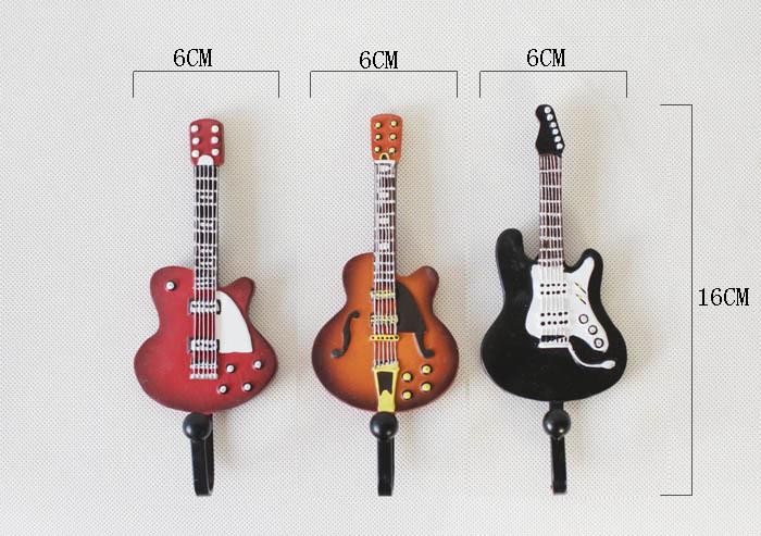 Creative Guitar Resin Coat Hat Robe Hanger Clapboard Walls