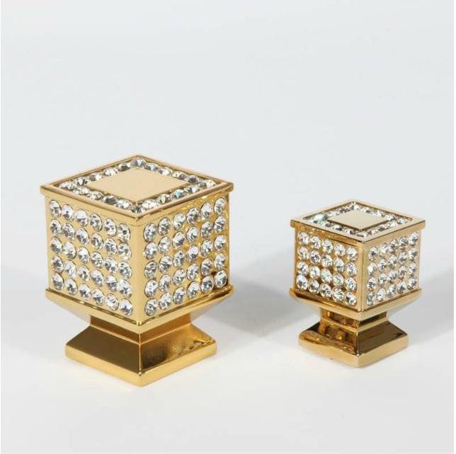 High Quality Gold Crystal Cabinet Single Hole Knob Cupboard Knob Dresser Pull Handle