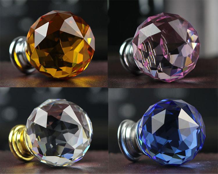 DIA 30mm K9 Crystal Cabinet Knobs Door Handles , Furniture Pull Crystal  Knob Crystal Drawer Pulls