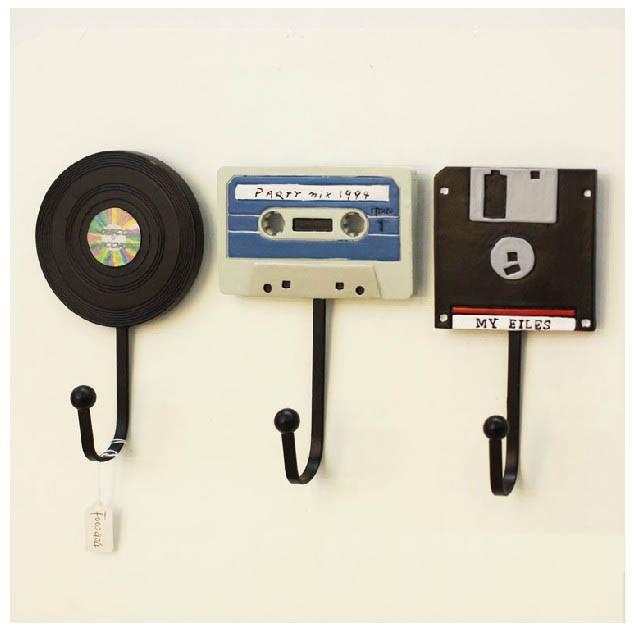 Creative Coat Hooks 3pcs tape disk records modern home decoration creative coat hooks