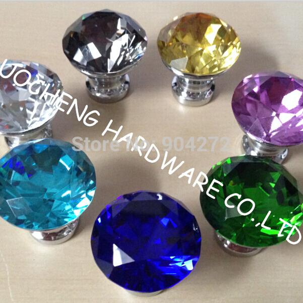 10pcs Lot 30mm Colored Diamond Crystal Kitchen Cabinet