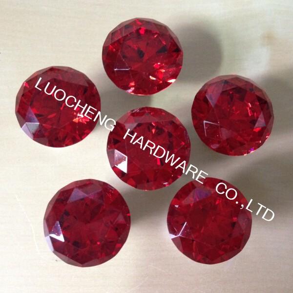 10PCS/ LOT 30mm Zinc Alloy Red Diamond Crystal Kitchen Cabinet ...