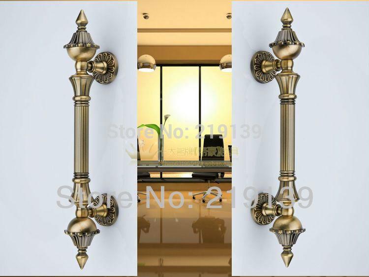 European Antique Classics Metal Zinc Alloy Grand Glass Door Handle Interior Doors Pull Furniture
