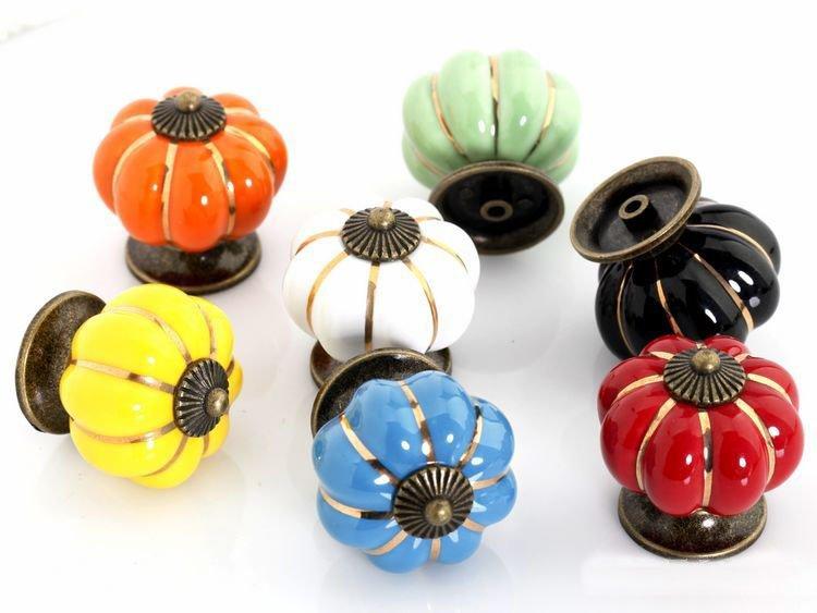 50pcs Colorful Pumpkin Ceramic Handle For Drawer Cabinet