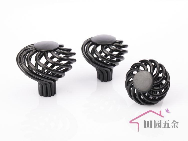 Attractive 40mm European Black Iron Birdcage Cabinet Knob / Black Metal Handle / Black  Metal Pull/