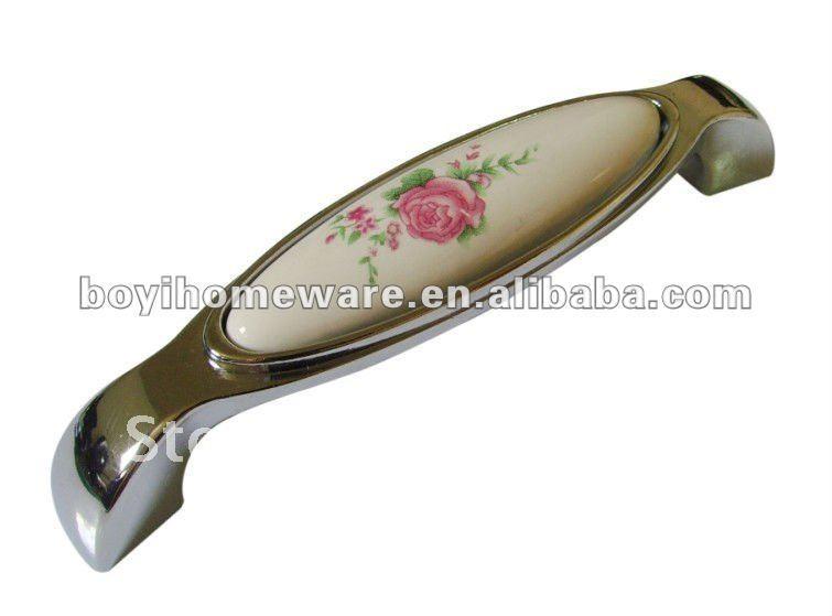Pink rose ceramic flush pull handles cupboard handles kitchen ...