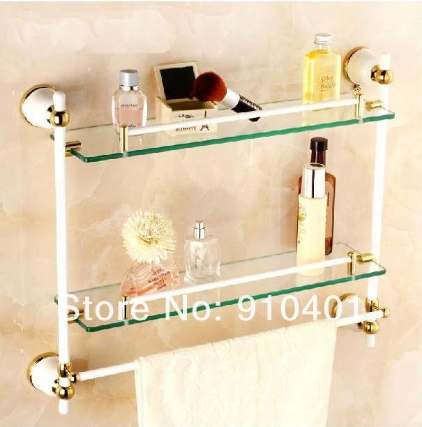 Luxury Gold White Brass Shower Caddy Cosmetic Shelf Dual Glass Tier ...