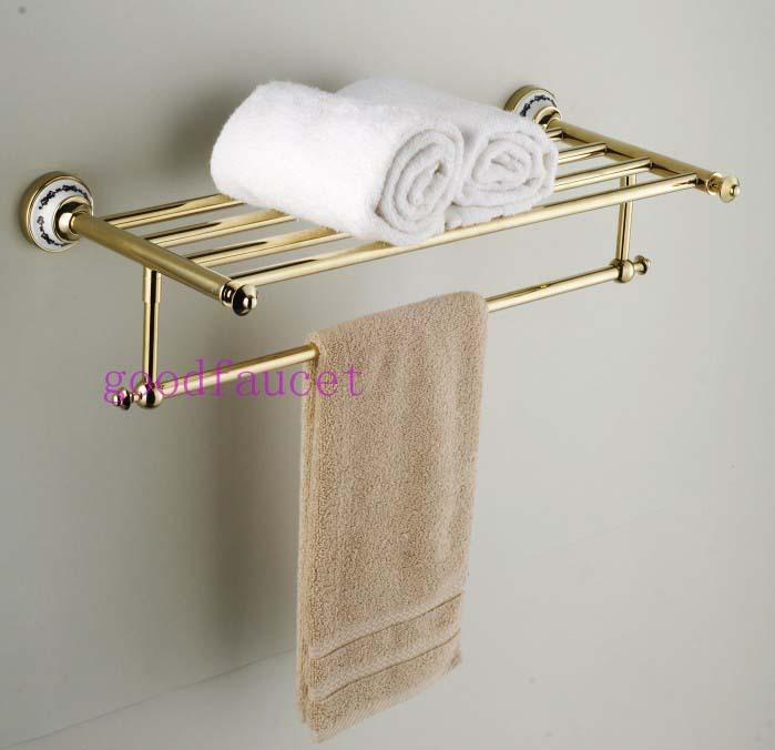 Luxury Bathroom Hardware wholesale / retail luxury bathroom golden wall mounted towel racks
