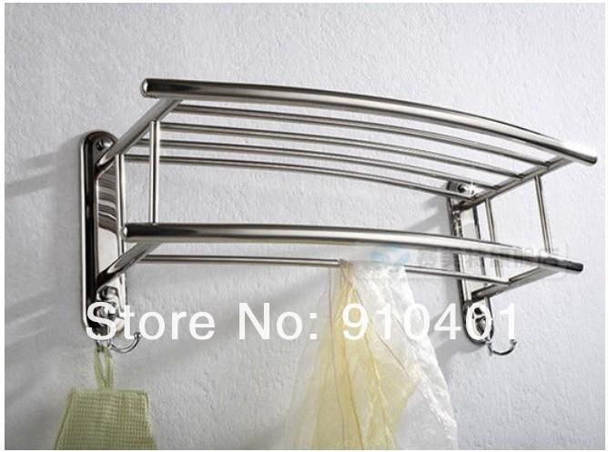 Wholesale And Retail Promotion Bathroom Wall Mounted Chrome Brass Towel Rack Shelf Towel Bar W