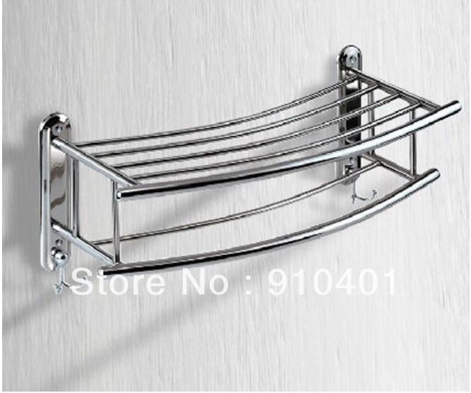 Whole And Retail Promotion Bathroom Wall Mounted Chrome Brass Towel Rack Shelf Bar W