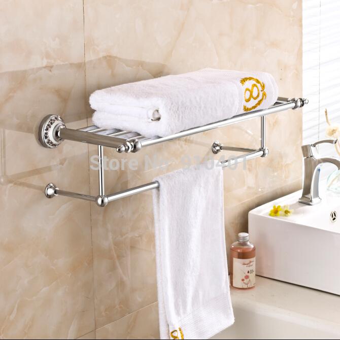 Wholesale And Retail Promotion Modern Luxury Chrome Brass Bathroom Towel Rack Holder Bath Shelf