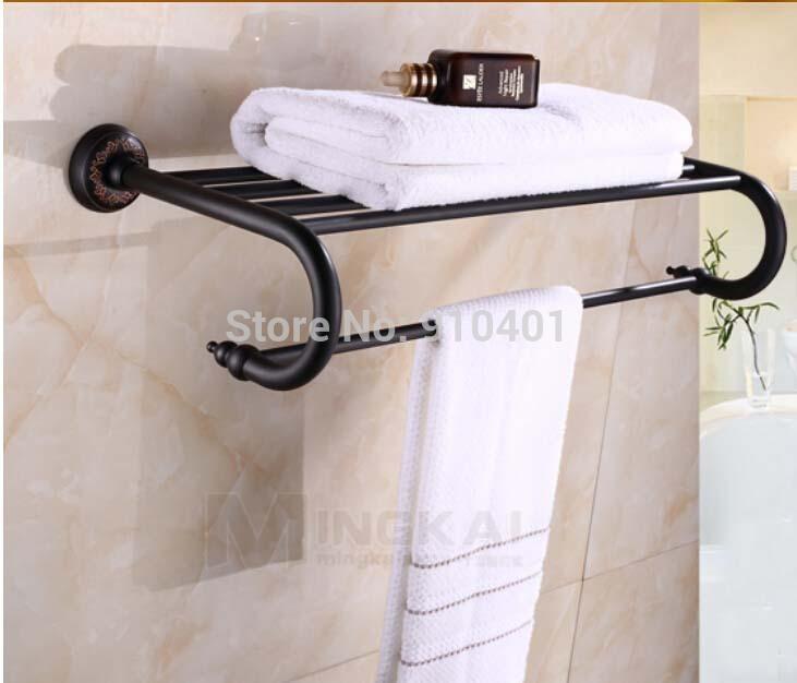 Whole And Retail Promotion Modern Oil Rubbed Bronze Bathroom Hotel Towel Rack Holder Bath Shelf