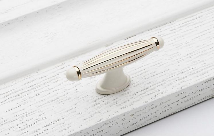 Fashion 10pcs Single Hole Ivory White Drawer Handle Luxury Gold Knobs Cabinet  Pulls Edge Kids Dresser