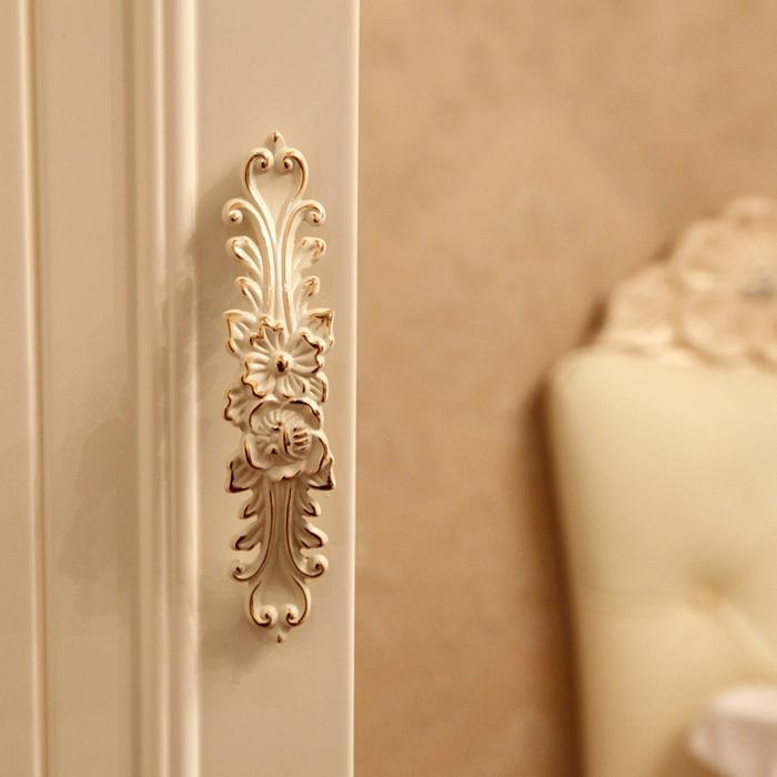 96mm golden edge handle ivory white door cabinet knob handle dresser kitchen drawer pulls furniture decorative