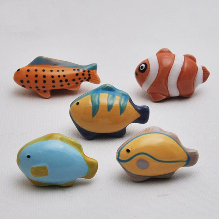 10pcs cartoon fish ocean style ceramic furniture handle for Fish drawer pulls